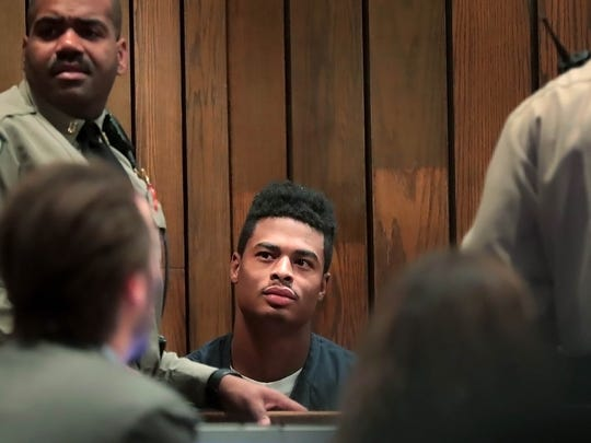 Kurtrell Williams appears in court Thursday morning on a preliminary hearing. Williams remains held without bond on charges of killing Susan Grissom at her Harbor Town home.