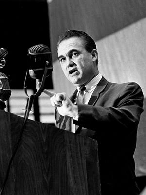 Alabama Gov. George Wallace attacks the proposed voting rights bill now before Congress during his speech at Vanderbilt University's IMPACT program April 3, 1965.