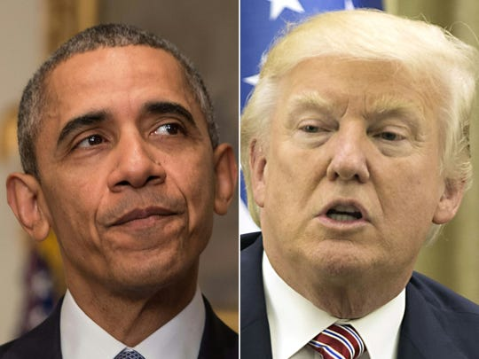 Presidents Barack Obama and Donald Trump.