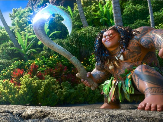 MAUI is a demigodÑhalf god, half mortal, all awesome. Charismatic and funny, he wields a magical fishhook that allows him to  shapeshift into all kinds of animals and pull up islands from the sea. Featuring Dwayne Johnson as the voice of Maui, Walt Disney Animation Studios' ÒMoanaÓ sails into U.S. theaters on Nov. 23, 2016. ©2016 Disney. All Rights Reserved.
