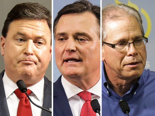 GOP Senate candidates from left: Todd Rokita, Luke Messer and Mike Braun.
