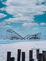 The Jet Star roller coaster in Seaside Heights, N.J. was destroyed by Hurricane Sandy in 2012 when the storm plunged the ride into the ocean. Before the coaster was demolished, del Tufo travelled to the Jersey Shore to make an image of the semi-submerged ride.