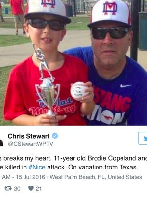 Sean Copeland, 51,  and his 11-year-old son Brodie, of Austin, were killed in the Nice terror attack, the Austin American-Statesman reported.