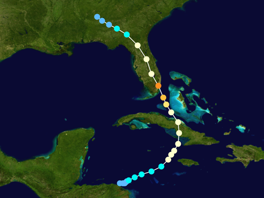 The path of Hurricane King in 1950. It moved north
