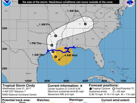 Image of Tropical Storm Cindy's probable path as of Wednesday, June 21, 2017.