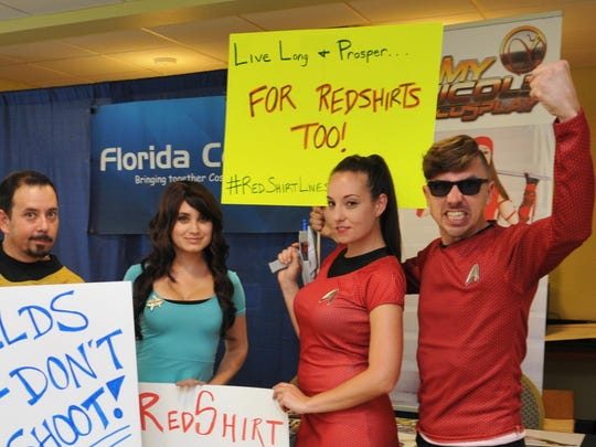 Members of the Port. St. Lucie group Florida Con-Artists ham it up. Space Coast Comic Con II, at the Space Coast Convention Center, located at the Holiday Inn Express in Cocoa. The three day event, Sept. 9-11, includes actors, cosplayers, authors, artists, and more.