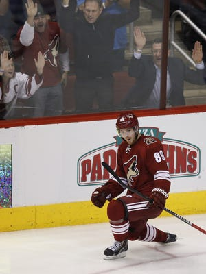 Coyotes #89 Mikkel Boedker celebrates his second goal of the night during the third period of a NHL game against the Jets at Gila River Arena in Glendale.
