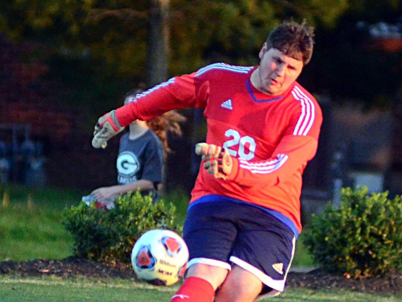 Beech High junior goalkeeper Dalton Hurst steps into a goal kick during first-half action.
