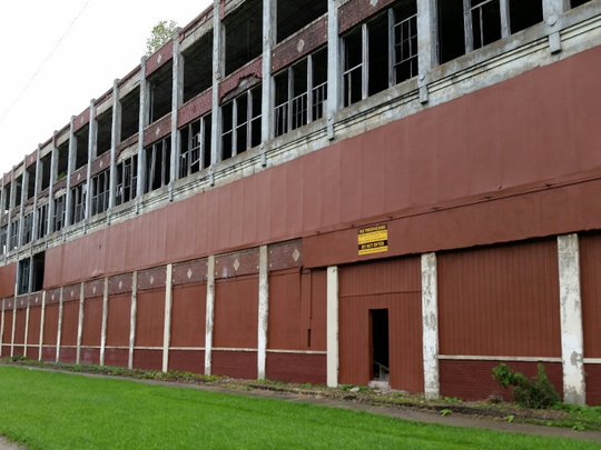 The city of Detroit cleaned off graffiti from the old Packard Plant