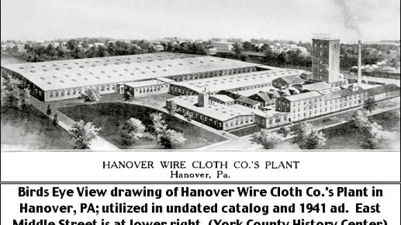 Birds Eye View drawing of Hanover Wire Cloth Co.'s Plant in Hanover, PA; that was utilized in an undated catalog and in a 1941 ad.  East Middle Street is at lower right. (Source:  York County History Center)