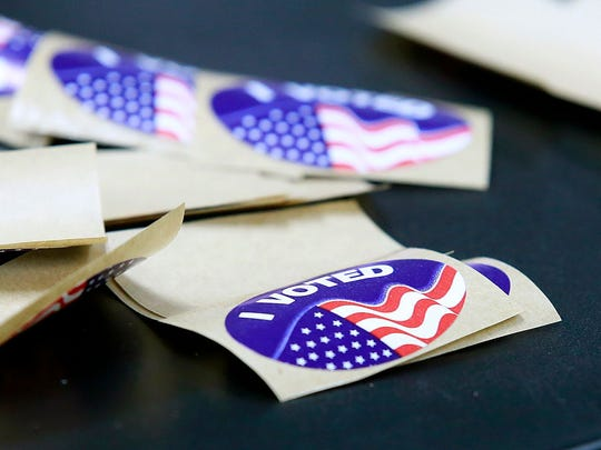Stickers were given to voters who cast ballots on Tuesday at the San Juan County Fire Operations Center in Aztec.
