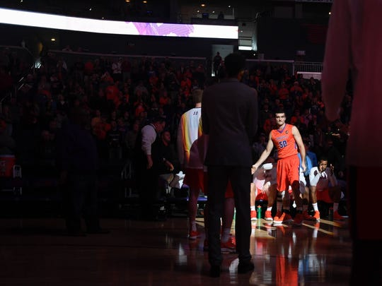 University of Evansville's Blake Simmons (50) is introduced