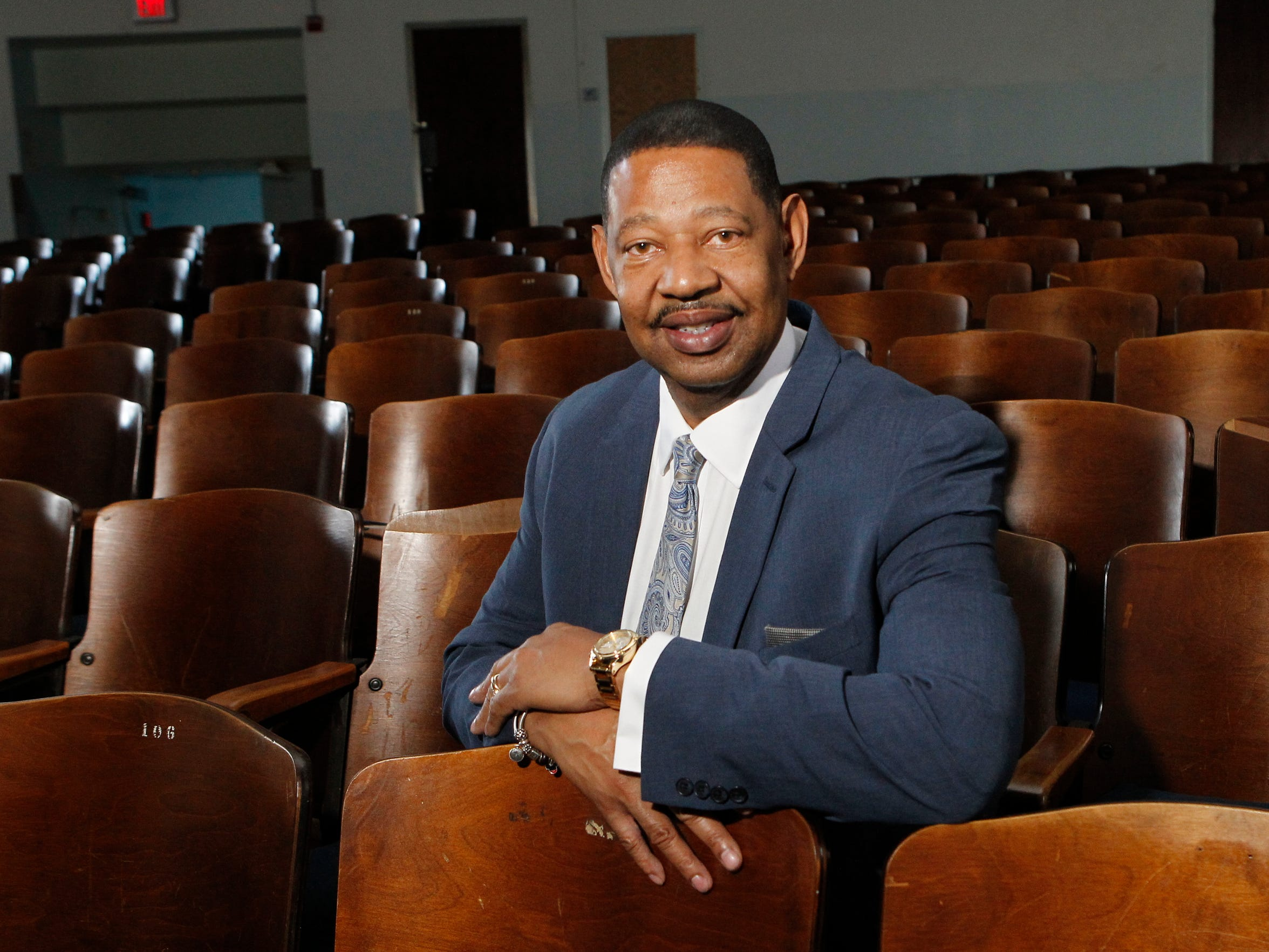 Mount Vernon School District Superintendent Kenneth R. Hamilton photographed in the auditorium of Thornton High School.