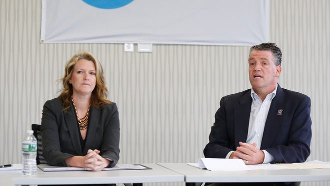 New York State Senate candidate Alison Boak, left, and State Senator Terrence Murphy photographed during an editorial board meeting at The Journal News headquarters in White Plains on Thursday, October 20, 2016.