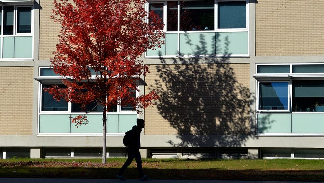 A student is silhouetted as he walks between classes Tuesday <137>, Oct. 21 <137>against the backdrop of windows and a maple tree adorned with its fall leaves by Brown Hall at St. Cloud State University. Even though enrollment continues to decline, retention and diversity at the school have increased.