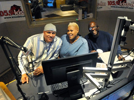 """From left, Tune-Up, Coco and John Mason on 105.9 KISS """"The Mason and Coco Morning Show"""" have cut into Steve Harvey's big numbers locally.<252><137>'Tune-Up Man', Coco and John Mason of """"The Mason and Coco Morning Show"""", 5:30-10:00am on 105.9 KISS at the Radio One Detroit studios in Detroit, Michigan on October 6, 2014. (Image by Daniel Mears / Detroit News)<252><137>"""