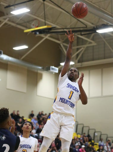 Shadow Mountain's Jovan Blacksher (1) shoots against