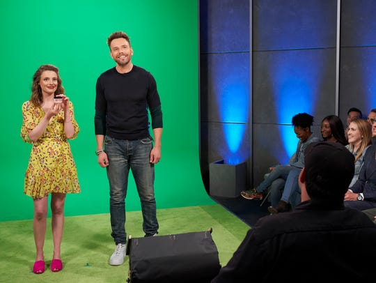 Gillian Jacobs, left, joins Joel McHale in a new episode