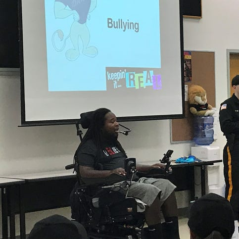 Eric LeGrand visits junior police cadets at Middlesex County Fire Academy