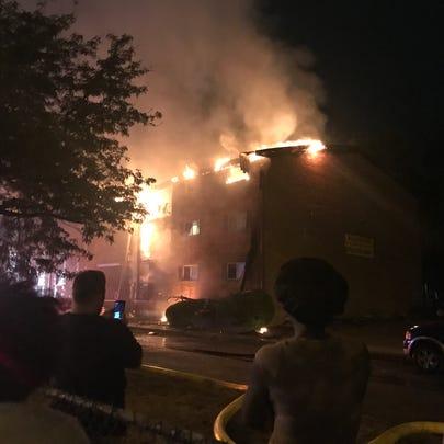 Village Inn Apartments burns on Sunday night.