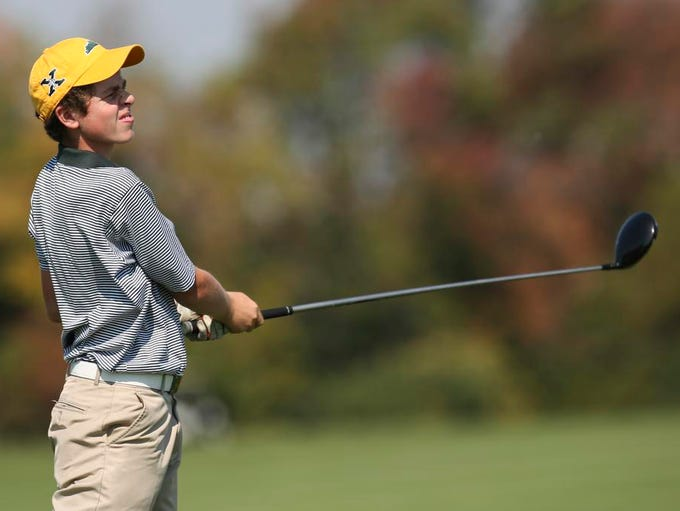 Saint X golfer Jake Mattingly tees off on hole 9 during Region 6 golf play at Nevel Meade Golf Course on Tuesday. Sept. 30, 2014