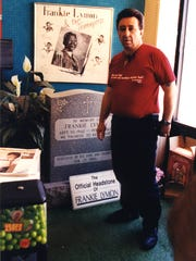 Ronnie Italiano shows the Frankie Lymon tombstone in