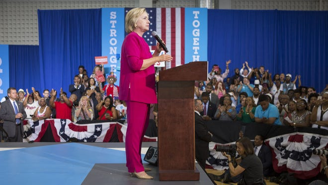 Hillary Clinton delivers remarks at a voter registration event on Aug. 16, 2016, at West Philadelphia High School.