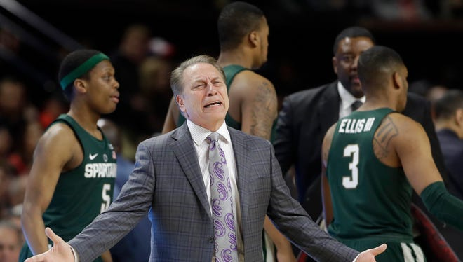 Michigan State head coach Tom Izzo gestures toward an official during a timeout in the first half of an NCAA college basketball game against Maryland, Saturday, March 4, 2017, in College Park, Md. Maryland won 63-60. (AP Photo/Patrick Semansky)