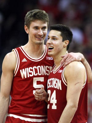 Mary Langenfeld-USA TODAY SportsWisconsin forward Aaron Moesch (5) and guard Bronson Koenig enjoy a moment during the Badgers' game Sunday. Koenig finished with a game-high 19 points. Feb 28, 2016; Madison, WI, USA; Wisconsin Badgers forward Aaron Moesch (5) and guard Bronson Koenig (24) enjoy a moment during the game with the Michigan Wolverines at the Kohl Center. Wisconsin defeated Michigan 68-57. Mandatory Credit: Mary Langenfeld-USA TODAY Sports