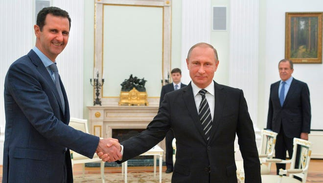 Russian President Vladimir Putin and Syrian President Bashar Assad in Moscow in 2015.