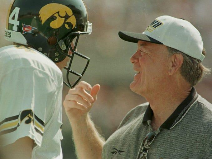 From 1998: Iowa coach Hayden Fry talks with freshman