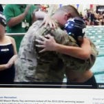 An image of the Facebook post from the Mason Recreation Center showing a Navy Chief being welcomed home by his son as a swim meet.