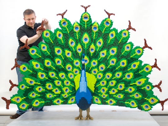 A peacock with intricate detail took Lego artist Sean Kenney and his team more than 600 hours to design and build with 68,827 pieces.