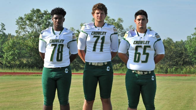 Darian Landry (78), Zach Bergeron (71) and Matthew Mire (65) all return on the Gents' offensive line and give Crowley an imposing offensive front.