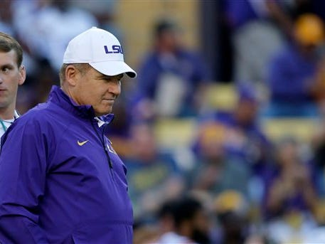 LSU head coach Les Miles suspended an offensive lineman after an arrest on Tuesday.