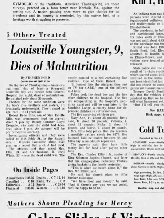 Bobby Ellis Thanksgiving 1969 Front Page