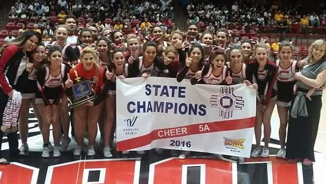 The Centennial cheerleading team won the Class 5A state championship last weekend during the NMAA state cheer and dance championships at The Pit in Albuquerque. The Hawks scored 176.94 points in the two-day score event. Centennial beat second-place Valencia .7 of a point.   Area schools swept the top three spots in Class 5A/6A co-ed cheer. Las Cruces High won the state title with 182.34 points for the Blue Trophy with Oñate second with 176.44 points for the Red Trophy and Mayfield was third with 173.90 points for the Green Trophy.   Hatch Valley won the state title in Class 1A/4A cheer with 170.64 points for the Blue Trophy.