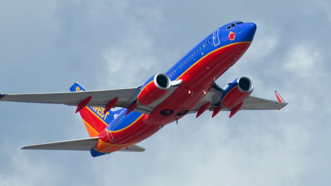 A Southwest Airlines jet takes off from  Fort Lauderdale-Hollywood International Airport on Feb. 21, 2013.
