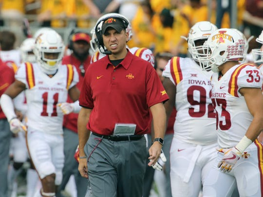 Iowa State head football coach Matt Campbell looks on during a time out against Baylor in the second half of a NCAA college football game, Saturday, Nov. 18, 2017, in Waco, Texas. Iowa State won 23-13.