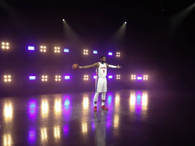 Pistons' Andre Drummond is photographed at media day