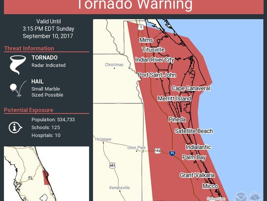 The latest Brevard County tornado warning on Sunday,