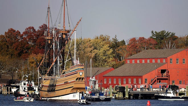 In this Nov. 2, 2016 photo, the Mayflower II arrives at Mystic Seaport in Stonington, Conn. The 1957 replica of the vessel that brought the Pilgrims to the new world in 1620, is there for a complete overhaul in time for festivities in 2020 that will mark the 400th anniversary of the Pilgrim landing.