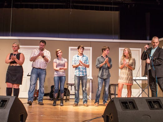 The five finalists wait for the results of the contest to be announced during the 12th Annual WYN 106.9 Country Showdown finals in Henderson, TN