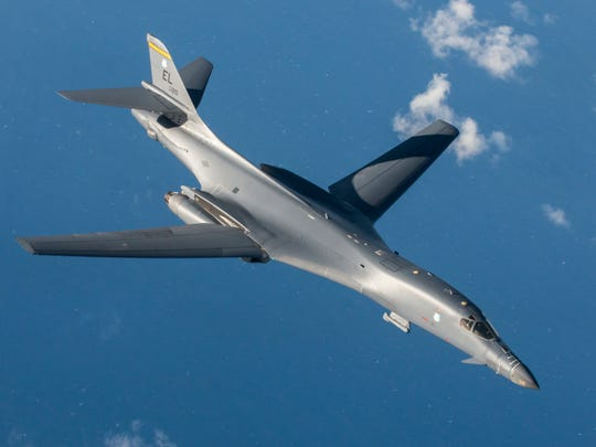 In this July 30, 2017, file photo, a U.S. Air Force B-1B Lancer assigned to the 9th Expeditionary Bomb Squadron, deployed from Dyess Air Force Base, Texas, is shown during a 10-hour mission from Andersen Air Force Base into Japanese airspace and over the Korean Peninsula.