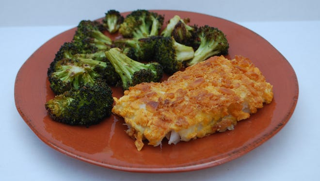 How to make Goldfish-Crusted Cod With Roasted Broccoli.
