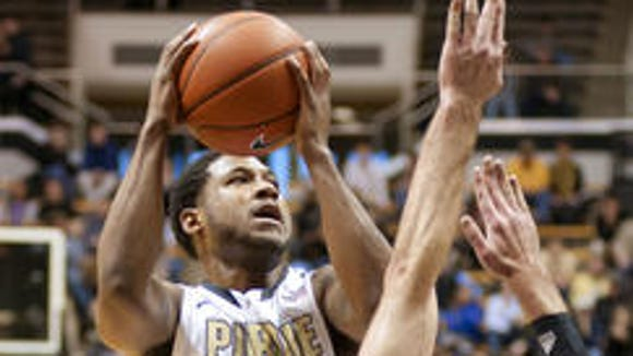 The NCAA Men's Basketball Rules Committee continues to tweak the standards for charge calls, such as this one that went against Purdue's Terone Johnson in the 2013 CBI at Mackey Arena.