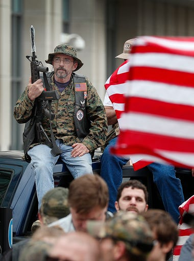 Americans for America Indiana rally, a gun rights advocate organization, rallied at the Indiana State House on April 14, 2018. Organizers encouraged gun rights supporters to bring their unloaded rifles to the rally.