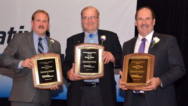 The 2017 Cooperative Builder Award recipients (from left) Brian Krambeer, Randy Geiger and Michael Toelle were recognized at the Cooperative Network annual meeting held Nov. 14-15, 2017, at the InterContinental Saint Paul Riverfront Hotel in St. Paul, Minn.