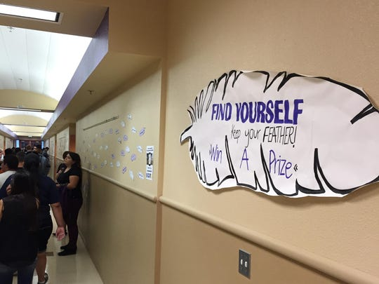 Students gathered at the 100 building at Mission Oak High School on Thursday, the first day of school.
