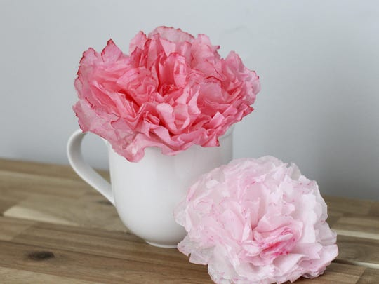 Peonies made out of coffee filters.